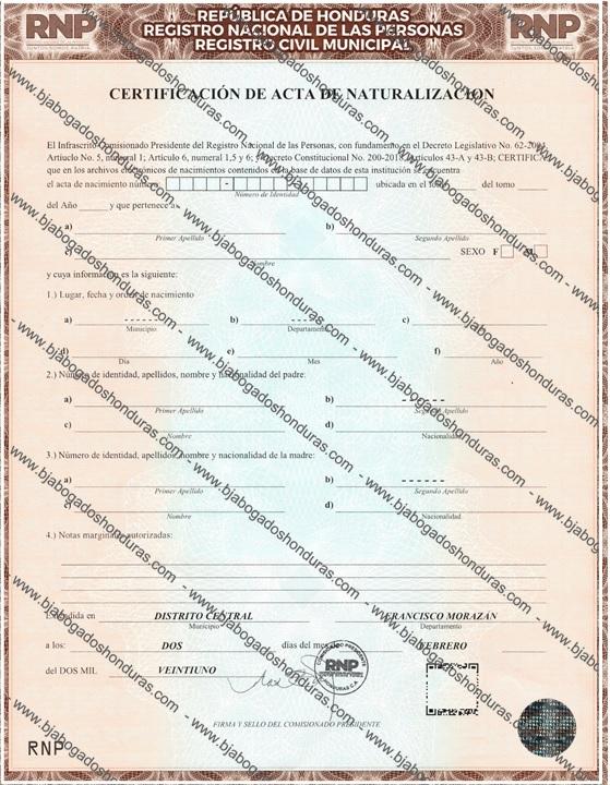 Acta de Naturalización o Ciudadanía Honduras