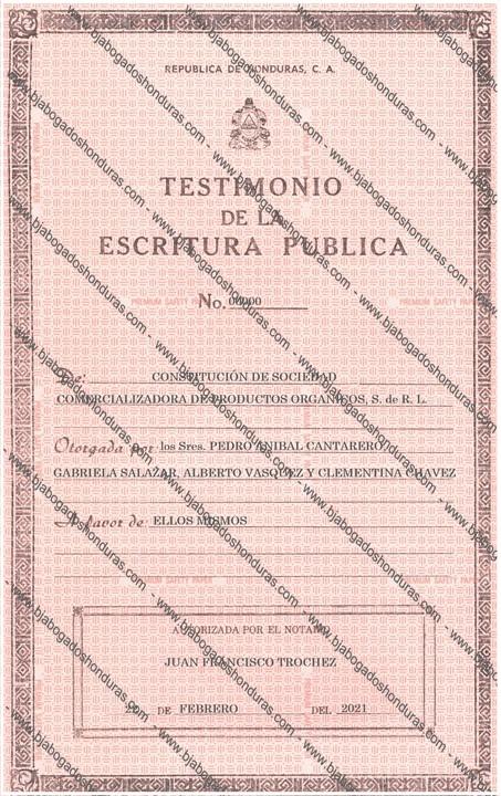 Constitución de Sociedad Honduras