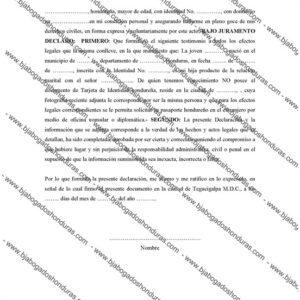 Declaración Jurada Honduras