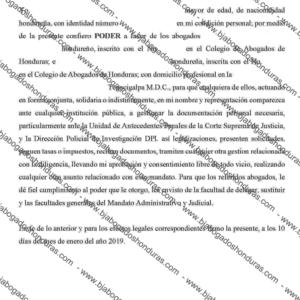 Carta Poder Apostillada Honduras