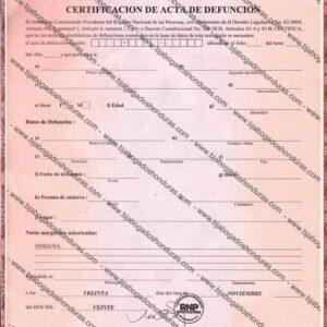 Certificación de Acta de Defunción - Acta de Defunción Honduras