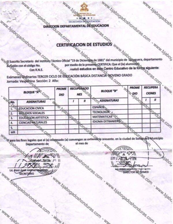Certificado de Notas de Educacion Media o Secundaria Honduras