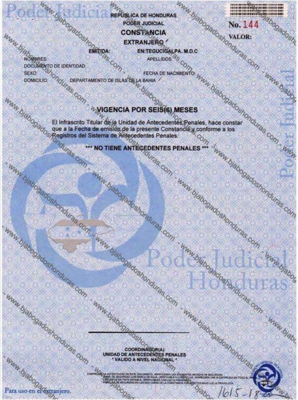 Constancia de Antecedentes Penales Honduras