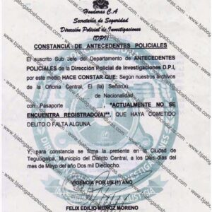 Constancia de Antecedentes Policiales DPI Honduras