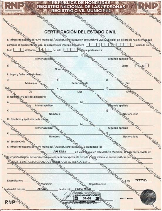 Certificacion de Estado Civil - Acta de Soltería Honduras