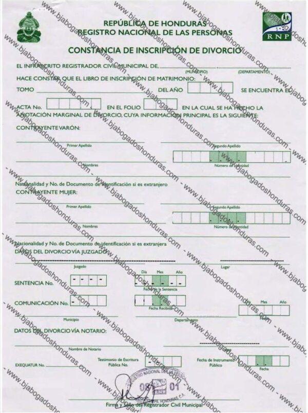 Constancia de Inscripción de Divorcio - Constancia de Divorcio Honduras