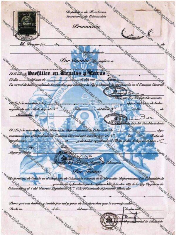 Titulo de Educacion Media - Titulos de Secundaria Honduras
